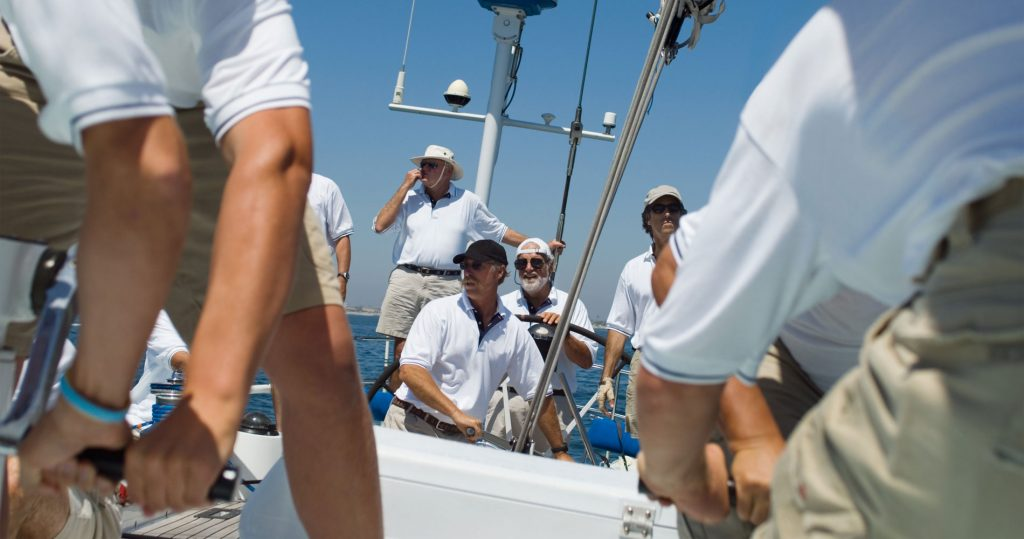 boat crew in yacht race